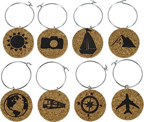 Cork Wine Glass Charms (20+ Unique Designs) - Set of 8 Travel Themed Designs: Plane, Compass, Globe, Boat, Mountain, Camera, Sun and Train - Tags to Mark Your Drink (Travel)