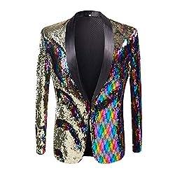 Men Two Color Conversion Shiny Sequins Jacket