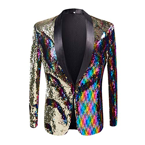PYJTRL Men Stylish Two Color Conversion Shiny Sequins Blazer Suit Jacket (Colorful, XL/44R)