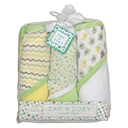 3 pack Soft Hooded Towel Set,Green,White, Yellow/Gray