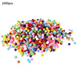 Itlovely 1000Pcs Soft Round Fluffy Craft Pompoms Ball Mixed Color Pom Poms 10mm DIY Craft