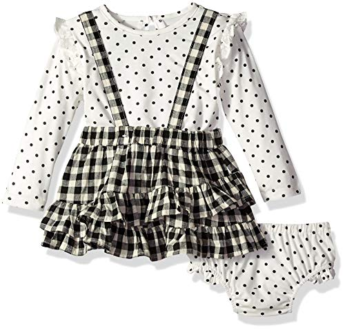 Jessica Simpson Baby Girls Long Sleeve Top and Plaid Jumper Set, sea Salt Check, 24M
