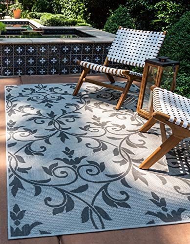 Unique Loom Outdoor Botanical Collection Floral Vines Transitional Indoor and Outdoor Flatweave Gray  Area Rug (3' 3 x 5' 0)