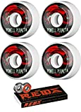 Powell-Peralta 56mm Oval Dragon 4 White/Black/Red Skateboard Wheels - 90a with Bones Bearings - 8mm Bones Reds Precision Skate Rated Skateboard Bearings (8) Pack - Bundle of 2 Items