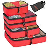 Valyne Packing Cubes 4-pcs Set, Luggage Travel Organizer Bags with a Free Laundry/shoe Bag (Medium Bag Double Compartment) (Red)