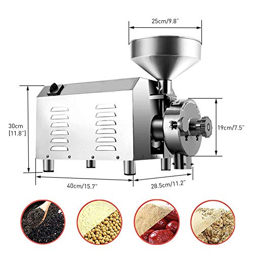 Large Commercial Grain Grinding Industrial Machine Electric Beer Grain Mill Grinder Nutri Mill Flour Motorized Stainless Steel Barley Crusher for Wheat Corn Coffee Pepper Soybean, 30-50kg/h (2200W) by Rbaysale (Image #6)