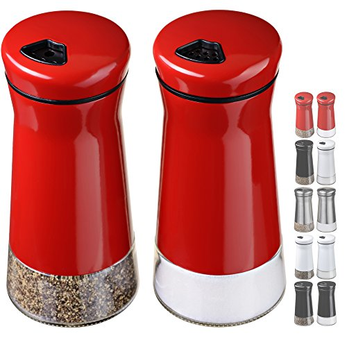 (CHEFVANTAGE Salt and Pepper Shakers Set with Adjustable Holes - Red)