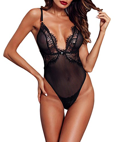 04d0e5020e Momodani Women s Sexy Lace Bodysuit Triangle One Piece Lingerie Strappy  Scalloped Teddy Underwear