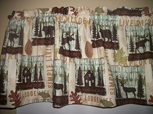 Drapes Rod Lodge Pocket (Cabin Lodge Camp Moose Bear Deer North Woods Fall fabric curtain topper Valance matching throw pillow covers available separately)