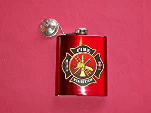 "Spoontiques Hip Flask, ""Firefighter"""