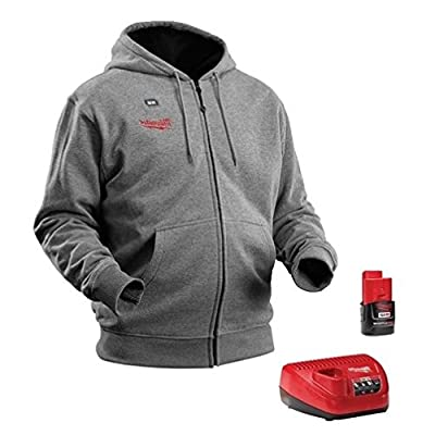 Milwaukee M12 Gray Heated Hoodie 2369 XL & Red Lithium Battery & Charger