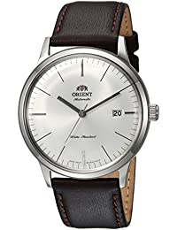 Men's '2nd Gen. Bambino Ver. 3' Japanese Automatic Stainless Steel and Leather Dress Watch, Color:Brown (Model: FAC0000EW0)