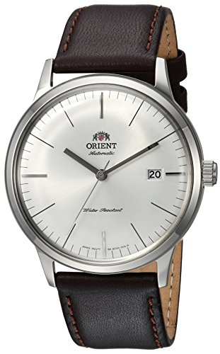 Orient Men's 2nd Gen. Bambino Ver. 3 Stainless Steel Japanese-Automatic Watch with Leather Calfskin Strap, Brown, 21 (Model: FAC0000EW0)