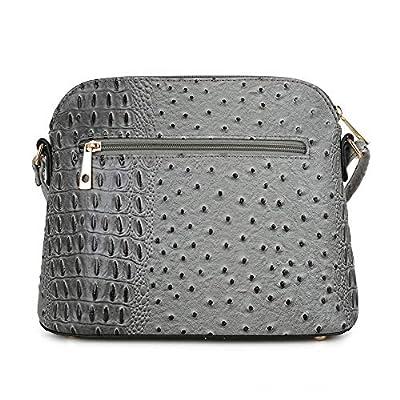 SG SUGU Crocodile Pattern Lightweight Medium Dome Crossbody Bag with Tassel