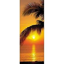 Komar 2-1255 Palmy Beach Sunrise Wall Mural, Orange