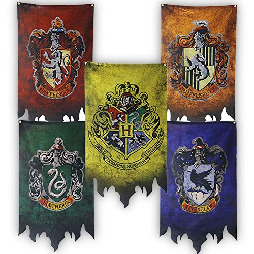 Harry Potter Hogwarts House Banners Wall Flags, Ultra Premium Complete Double Layered Indoor Outdoor Party Flag - Gryffindor, Slytherin, Hufflepuff, Ravenclaw - 30