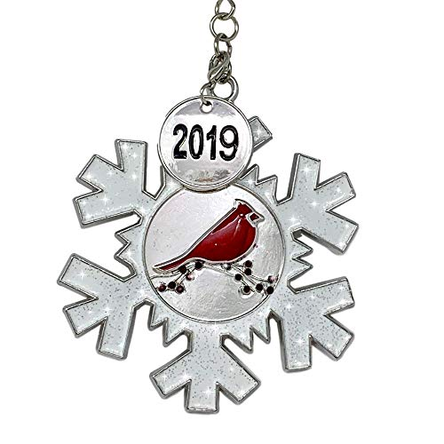 BANBERRY DESIGNS 2019 Dated Christmas Ornament - White Glittered Snowflake with Cardinal Design - Memorial Ornament -