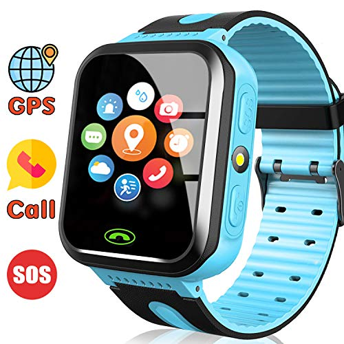 AMENON [Includes SIM Card] Kids Smart Watch - GPS Tracker Kids Smart Watches for Boys Girls with Calls SOS Anti-Lost Kids Smartwatch Phone Child Wrist Watch for New Year Holiday Toys Gifts