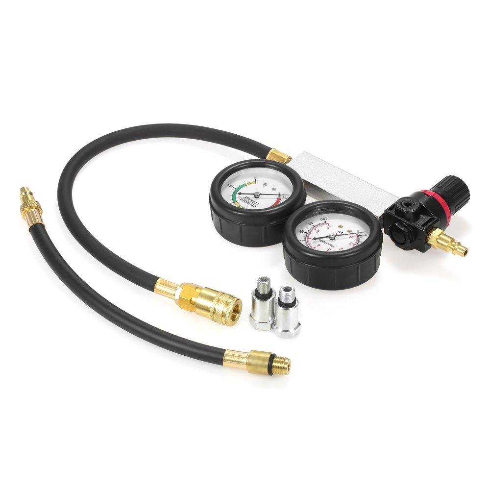 KKmoon Kit de comprobador de compresión Detector de fugas del cilindro Medidor de presión del cilindro de coche: Amazon.es: Bricolaje y herramientas