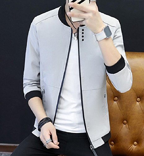 Pockets Coat Collar RkBaoye Solid Men's up Stand Jacket Grey with Zips Colored 4IxSqaAw