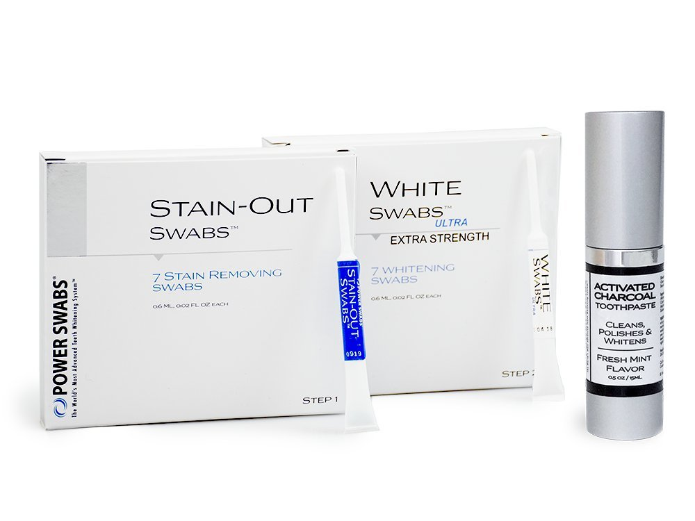 Power Swabs 7-Day Ultra White Kit with Free Activated Charcoal Whitening Toothpaste