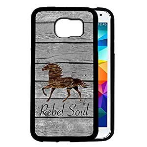 Rebel Soul Brown Wood Overlay Horse Samsung GALAXY S6 Edge plus Phone Case