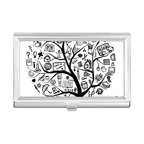 Cute Graffiti School Style Tree Silhouette Business Card Holder Case Wallet by DIYthinker