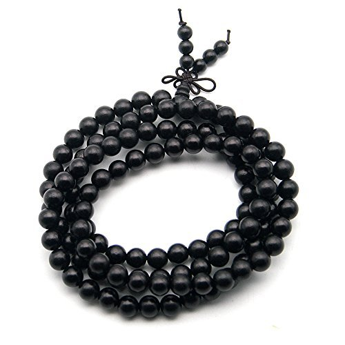 (Beautiful Bead Genuine Ebony Wood Buddhist Prayer Bead Necklace/Bracelet Meditation Mala)