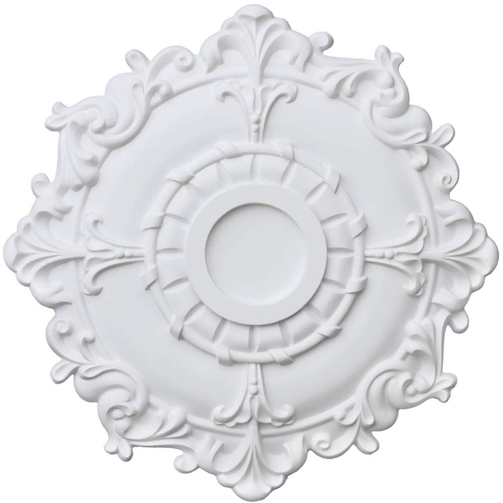 PU Moulding 100% Higher Density Polyethylene Ceiling Medallions for Chandeliers Ceiling Fans Wall Décor 18'' OD x 3 3/5'' ID x 1 7/10''P, White