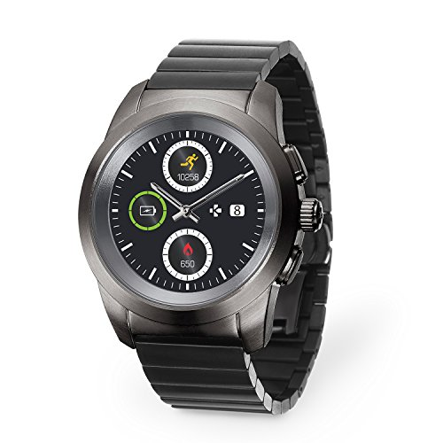 MyKronoz ZeTime Elite Hybrid Smartwatch 44mm with mechanical hands over a color touch screen – Brushed Titanium / Modern Link