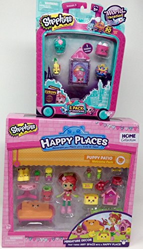 Shopkins Happy Places Puppy Patio and World Vacation Europe 5 pack - Bundle of (Sexy Sunflower Scarecrow Costumes)