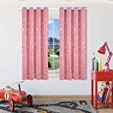 Cheap Kotile Nursery/Kid's Bedroom Room Draking Curtains with Foil Print Star Patern, Super Soft Weave Grommet Window Draperies for Girls Bedroom (2 Panels, 52 x63 Inches, Baby Pink)