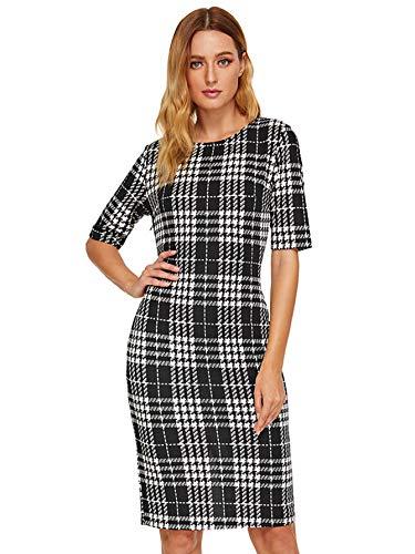 Sheath Pencil Dress - SHEIN Women's Short Sleeve Elegant Sheath Pencil Dress X-Small Black Plaid#2