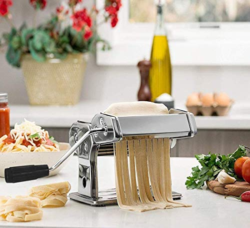 Pasta Maker Machine,All in one 7 Thickness Settings Stainless Steel Manual Roller Pasta Maker for Homemade Spaghetti Linguine Fettuccine Lasagne, Includes Dough Cutter & Hand Crank