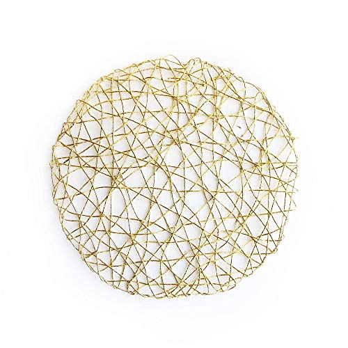 Klikel Gold Charger Plates | Round Placemat For Dining Table | Set of 8 Foil Mesh Doilies 15, Gold