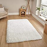 Zeff Furnishing Polyester Anti Slip Shaggy Fluffy Fur Rugs and Carpet for Living Room, Bedroom (White, 5x7 feet)