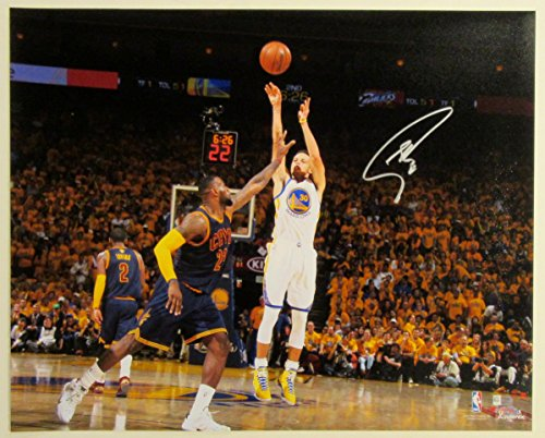 "Stephen Curry Autographed 20"" x 16"" Photograph - signed in gold. vs. Cavs. 2015 NBA Final"