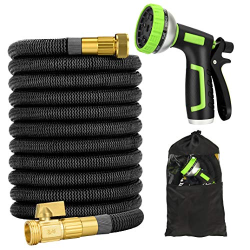Garden Hose 50ft – Expandable Water Hose with Double Latex Core, Heavy Duty, Light Weight, Flexible Expanding Hose with 10 Function Spray Nozzle (50ft)