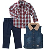Lucky Brand Toddler Boys' 3 Piece Sets, Blue Denim/Dress Blues/Biking Red, 3T
