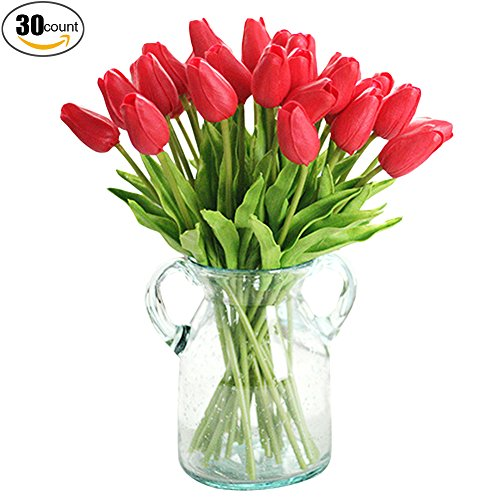 XHSP 30 pcs Real-touch Artificial Tulip Flowers Home Wedding Party (Red Tulip Flower)