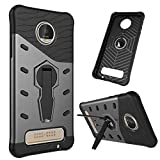 TASLAR Sniper Series Armor Bumper 360 Stand Hard Back Case Cover For Moto Z Play [Black]