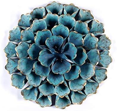 Winsome House 23.5″ Diameter Teal Flower Metal Wall Sculpture