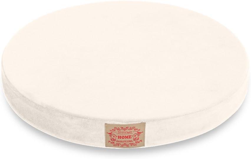 "Shinnwa Polyester Supper Soft Cushion Round MemoryFoam Seat Cushion Short Plush LumbarSupportPillow Home Office Chair Pad White 16"""
