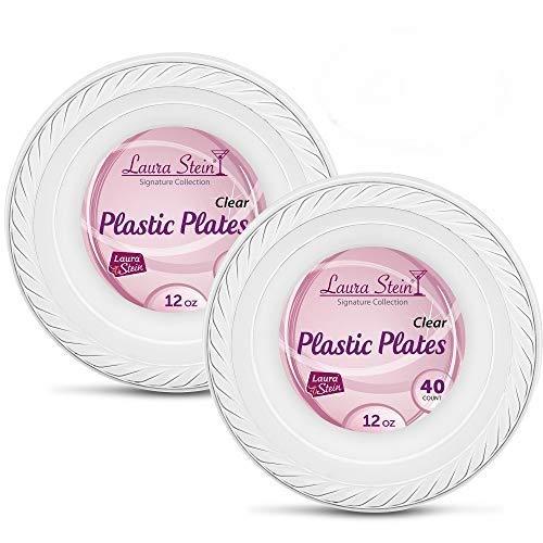 Laura Stein Elegant Clear 12 oz Disposable Clear Plastic Bowls 2 Packs (80 Bowls)