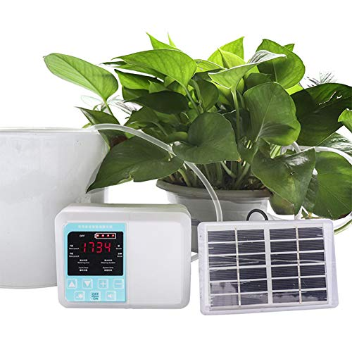 f84eb058e1ba DIY Automatic Drip Kit,Intelligent Timing Automatic Solar Charge,Potted  Plant Drip Irrigation Pump,for Indoor Potted Plants, Garden,Outdoor, Home,  ...