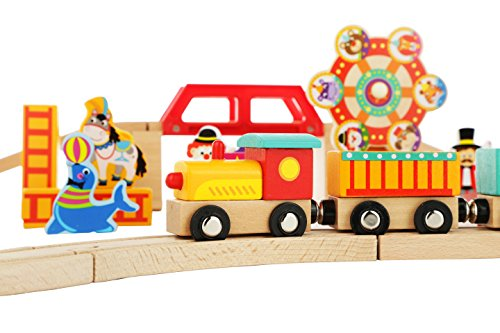 (Wooden Train Set Toy Magnetic Trains Cars & Accessories for Toddlers & Kids 3+ Circus Train)