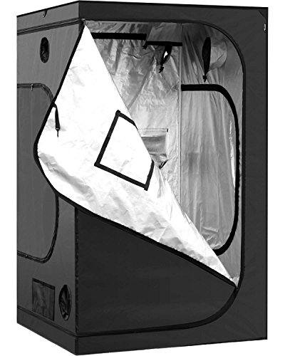 iPower GLTENTM1 48'x48'x78' 4'x4' Hydroponic Mylar Grow Tent with Observation W, 48' x 48' x 78', Black and Silver