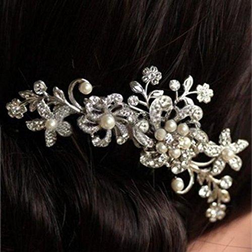 ZXUY Charm Bridal Wedding Silver Crystal Rhinestones Pearls Women Hair Comb Clip Hot