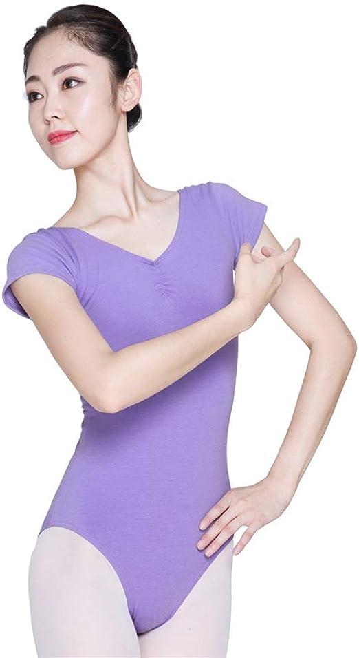 HLW Sports-cloth Leotardos de Ballet con Cuello Halter para Mujer Leotardos de Ballet for Mujer Leotardo de una Pieza, Manga Corta, Cuello en V for Damas para Dormitorio Balcón Sala de Estar