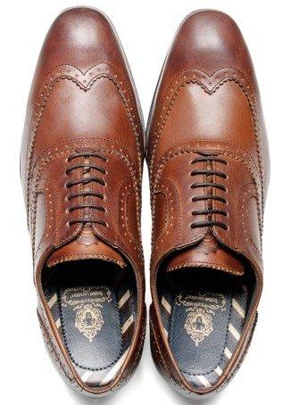 Base London Nutmeg Tan Leder Neu Herren Formal Oxford Brogue Stiefel